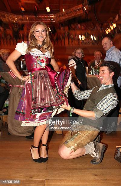 Jana Julie Kilka and her boyfriend Thore Schoelermann during the Weisswurstparty at Hotel Stanglwirt on January 23 2015 in Going Austria