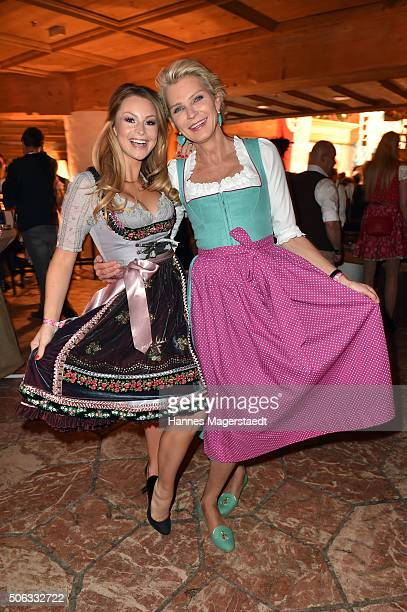Jana Julie Kilka and Sephanie Graefin von Pfuel during the Weisswurstparty at Hotel Stanglwirt on January 22 2016 in Going Austria