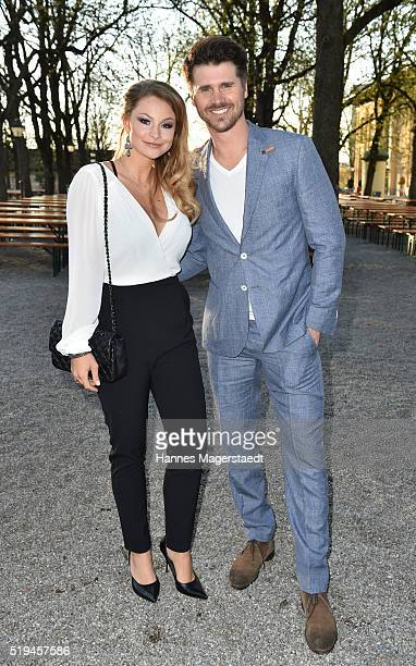 Jana Kilka and her boyfriend Thore Schoelermann during the 'EAGLES Fashion Dinner' at Nockherberg on April 6 2016 in Munich Germany