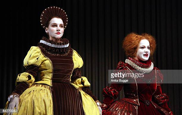 Jana Klinge as Rosalind and Laura Lo Zito as Celia during the dress rehearsal of 'Wie Es Euch Gefaellt' by William Shakespeare directed by Katharina...