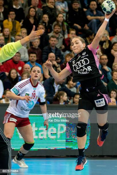 Jana Knedlikova shoots in the game between Larvik HK and Gyori Audi ETO KC on March 12 2017 in Larvik Norway