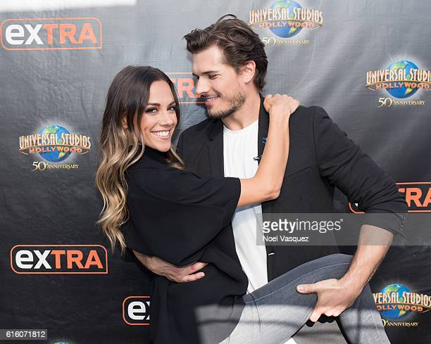 Jana Kramer and Gleb Savchenko visit 'Extra' at Universal Studios Hollywood on October 21 2016 in Universal City California