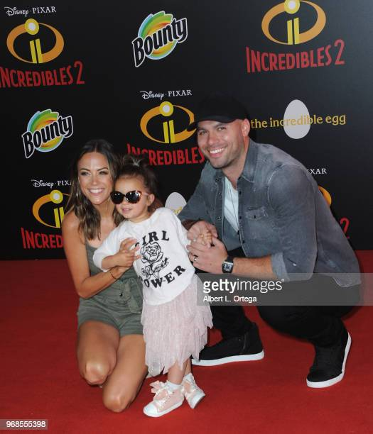 Jana Kramer Jolie Rae Caussin and Mike Caussin arrive for the Premiere Of Disney And Pixar's Incredibles 2 on June 5 2018 in Los Angeles California