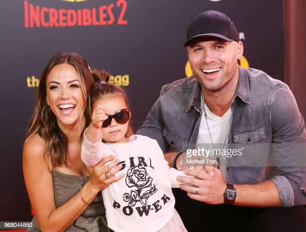 Jana Kramer Mike Caussin and their daughter Jolie Rae Caussin attend the World Premiere of Disney and Pixar's Incredibles 2 held on June 5 2018 in...