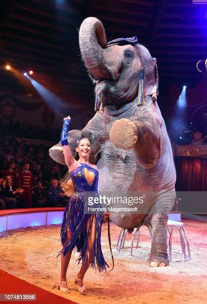 Jana LaceyKrone performs with an elephant during the Circus Krone Premiere at Circus Krone on December 25 2018 in Munich Germany