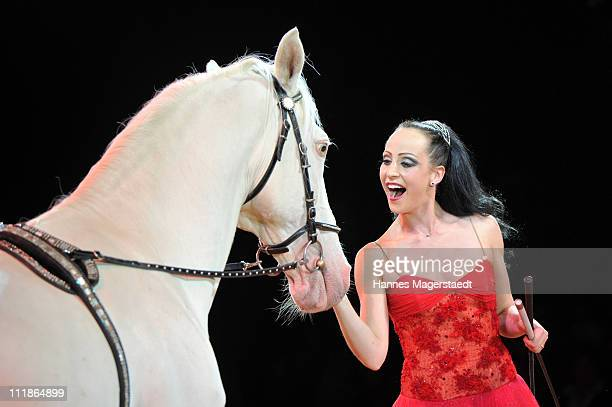 Jana Mandana perform with her horses during the Circus Krone 'Celebration' Premiere on April 7 2011 in Munich Germany