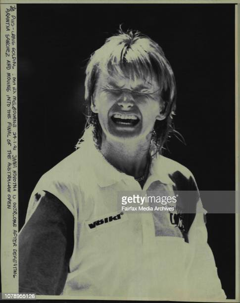 Jana Novotna is over come after defeating Arantxa Sanchez and moving into the final of the Australian open January 24 1991