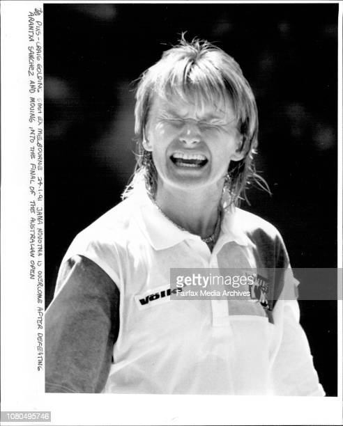 Jana Novotna is overcome after defeating Arantxa Sanchez and Moving into the final of the Australian Open January 24 1991