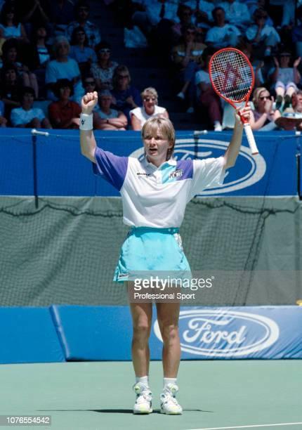 Jana Novotna of Czechoslovakia celebrates reaching the final after defeating Arantxa Sanchez Vicario of Spain in the Women's Singles Semi Final on...