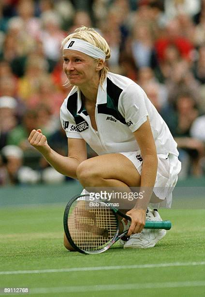 Jana Novotna of Czechoslovakia during the Wimbledon Lawn Tennis Champsionships held at the All England Club in London England during July 1998
