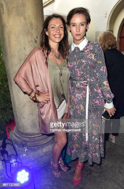 Jana Pallaske and Peri Baumeister during the Bavaria Film reception during the Munich Film Festival 2018 at Kuenstlerhaus am Lenbachplatz on July 3...
