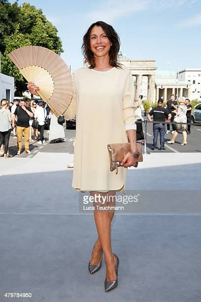 Jana Pallaske attends the Marc Cain show during the MercedesBenz Fashion Week Berlin Spring/Summer 2016 at Brandenburg Gate on July 7 2015 in Berlin...