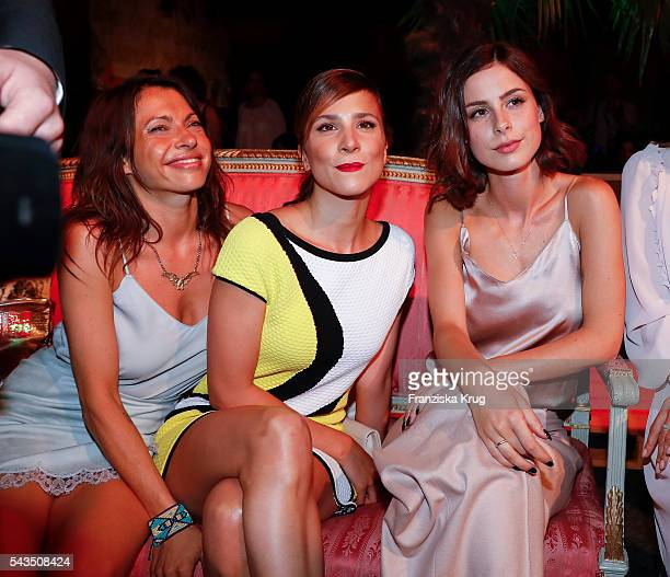 Jana Pallaske Aylin Tezel and Lena MeyerLandrut attend the Marc Cain show spring/summer 2017 at CITY CUBE Panorama Bar on June 28 2016 in Berlin...