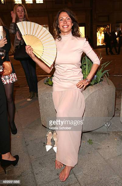 Jana Pallaske barefoot during the 50th Anniversary of AIGNER on April 16 2015 in Munich Germany