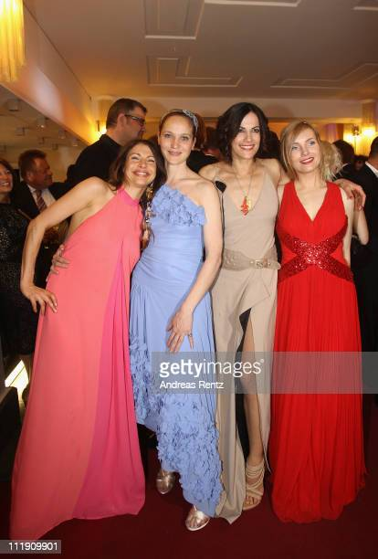 Jana Pallaske Jeanette Hain Bettina Zimmermann and Nadja Uhl attend the German Film Awards party at Friedrichstadtpalast on April 8 2011 in Berlin...