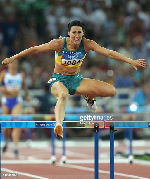 Jana Pittman of Australia competes in the women's 400 metre hurdle semifinal on August 22, 2004 during the Athens 2004 Summer Olympic Games at the...