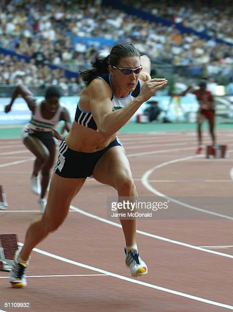 Jana Pittman of Australia during the women's 400m event at the IAAF Golden League meet at the Stade de France on July 23 2004 in Paris France