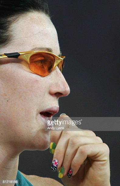 Jana Pittman of Australia is seen after the women's 400 metre hurdle final on August 25 2004 during the Athens 2004 Summer Olympic Games at the...