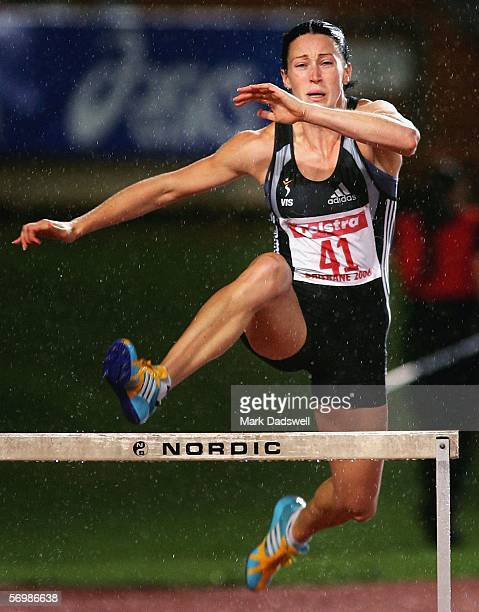 Jana Pittman of the VIS clears the first hurdle on her way to winning the Womens 400 Metres Hurdles during the Brisbane Telstra Aseries held at the...