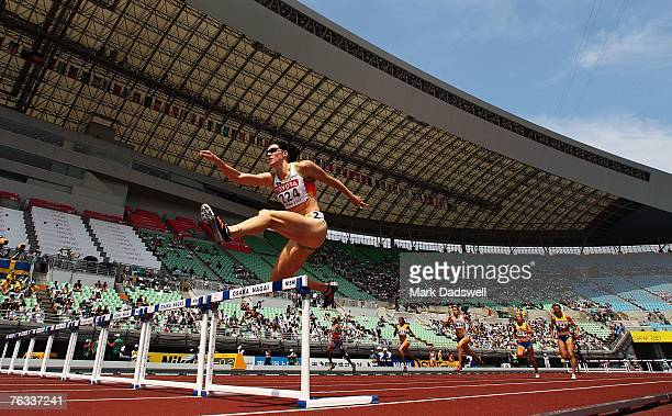 Jana Rawlinson of Australia competes during the Women's 400m Hurdles Heats on day three of the 11th IAAF World Athletics Championships on August 27...