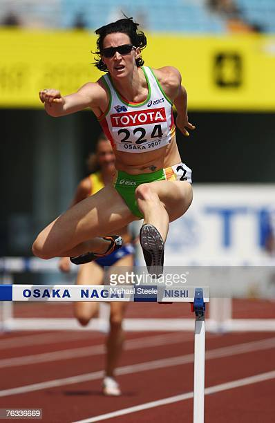 Jana Rawlinson of Australia competes in the Women's 400m Hurdles heats on day three of the 11th IAAF World Athletics Championships on August 27, 2007...