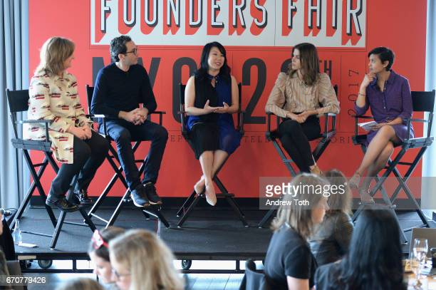 Jana Rich, Neil Blumenthal, Shan-Lyn Ma, Emily Weiss, and Stephanie Mehta speak onstage during Vanity Fair's Founders Fair at the 1 Hotel Brooklyn...