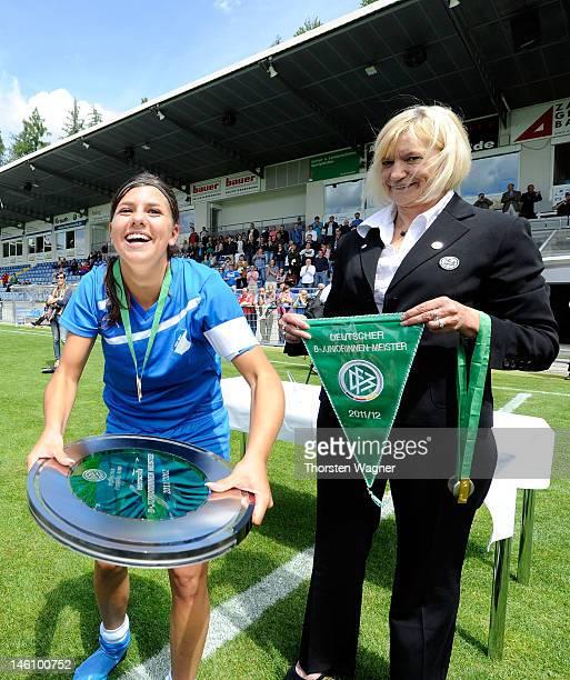 Jana Rippberger of Hoffenheim celebrates after winning the women's bjuniors bundesliga final match between TSG 1899 Hoffenheim and Turbine Potsdam at...