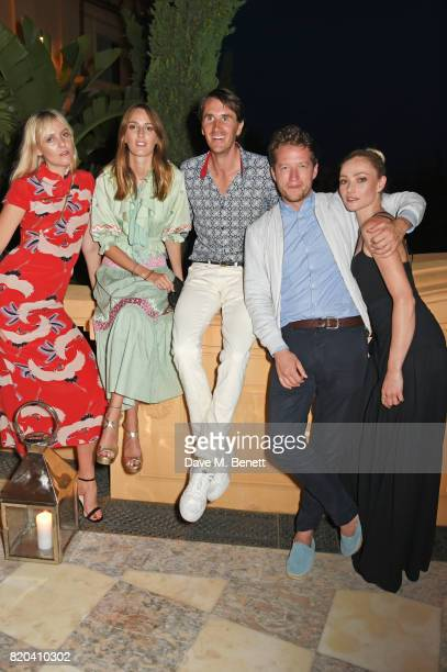 Jana Sascha Haveman Lady Alice Manners Otis Ferry Robin ScottLawson and Clara Paget attend the Lelloue launch party at Villa St George on July 21...