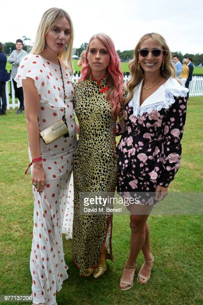 Jana Sascha Haveman Lady Mary Charteris and Harley VieraNewton attend the Cartier Queen's Cup Polo Final at Guards Polo Club on June 17 2018 in Egham...