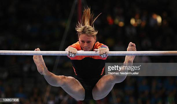 Jana Sikulova of the Czech Republic performs at the uneven bars during the EnBW Gymnastics Worldcup 2010 at the Porsche Arena on November 13 2010 in...