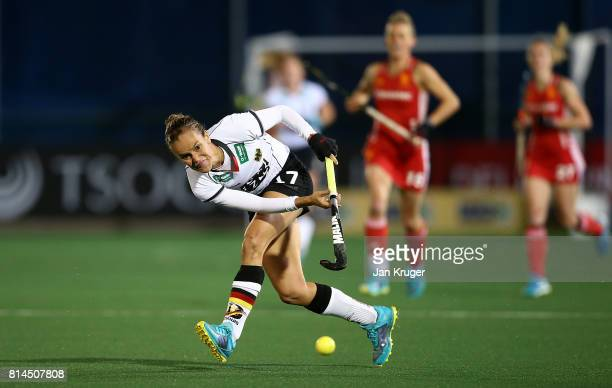 Jana Teschke of Germany passes the ball during day 4 of the FIH Hockey World League Women's Semi Finals Pool A match between Germany and England at...