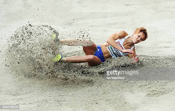 Jana Veldakova of Slovakia competes in the Qualifying of the Women's Long Jump during Day One of The European Athletics Championships at Olympic...
