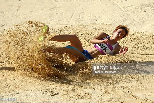 Jana Veldakova of Slovakia competes in the Women's Long Jump during day ten of the Baku 2015 European Games at the Olympic Stadium on June 22 2015 in...