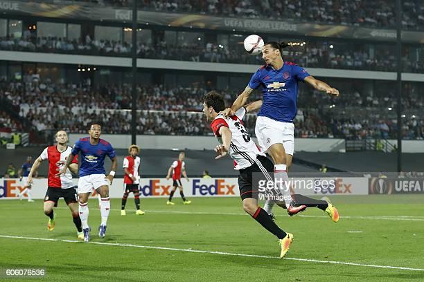 JanArie van der Heijden of Feyenoord Memphis Depay of Manchester United Eric Botteghin of Feyenoord Zlatan Ibrahimovic of Manchester United during...