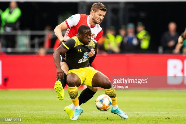 JanArie van der Heijden of Feyenoord Michael Obafemi of Southampton FC during the Preseason Friendly match between Feyenoord and Southampton FC at...
