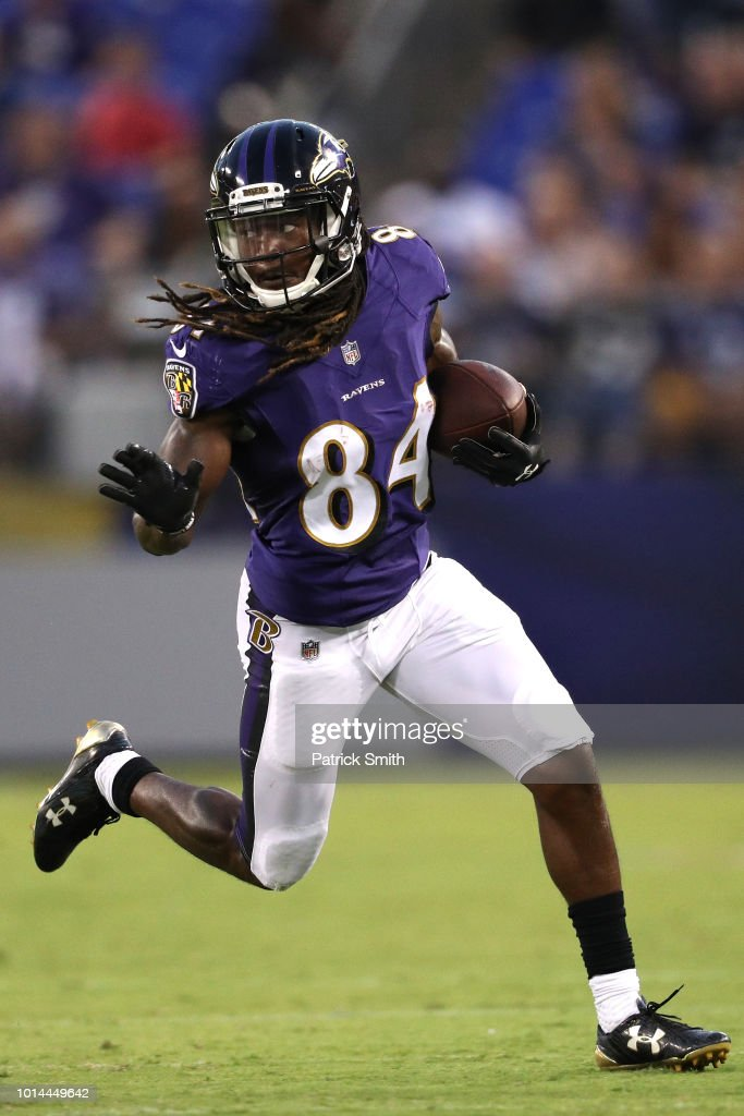 Janarion Grant #84 of the Baltimore Ravens rushes against the Los Angeles Rams in the first half during a preseason game at M&T Bank Stadium on August 9, 2018 in Baltimore, Maryland.