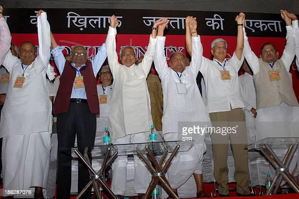 Janata Dal leader and former prime minister H D Devegowda Communist Party of India general secretary A B Bardhan Bihar chief minister Nitish Kumar...