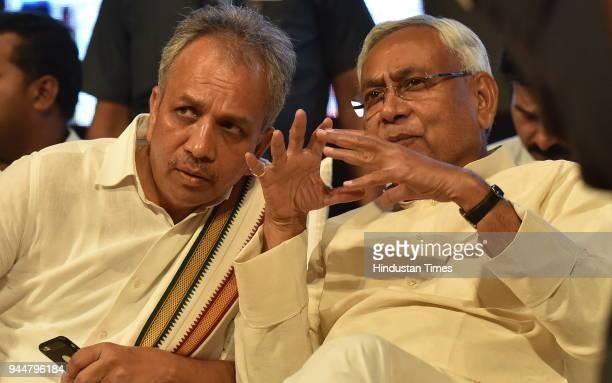 Janata Dal National President and Bihar Chief Minister Nitish Kumar with JD Karnataka state president Mahima Patel during Karnataka JD workers meet...