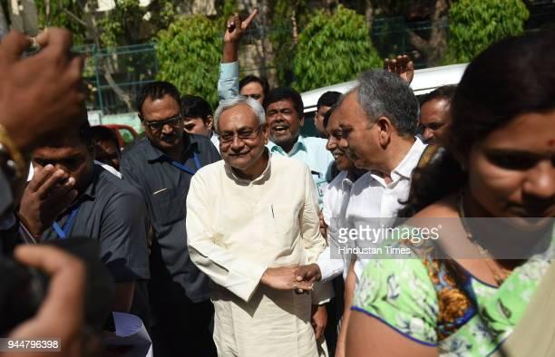 Janata Dal National President and Bihar Chief Minister Nitish Kumar arrives at Chowdiah Memorial Hall to meet Karnataka JD workers ahead of Karnataka...