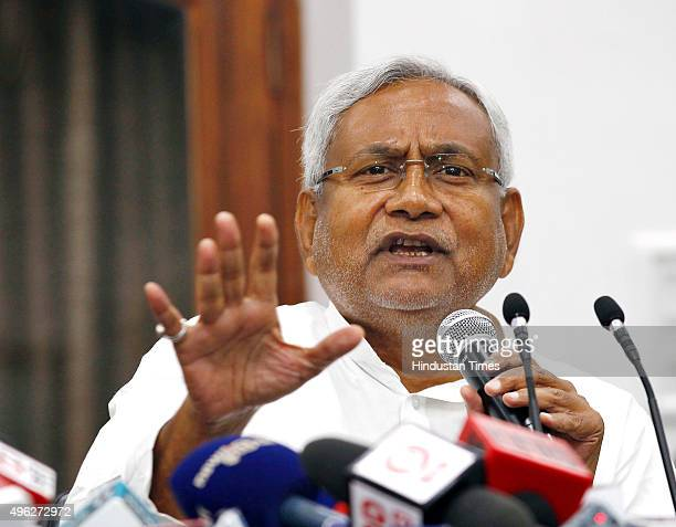 Janata DalUnited leader Nitish Kumar during a press conference after landslide victory in Bihar Assembly elections at his residence on November 8...