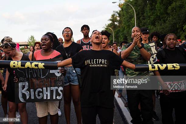 TORONTO ON JULY 27 Janaya Khan screams during a Black Lives Matter protest that marched from Gilbert Avenue to Allen Road on Eglinton Avenue The...