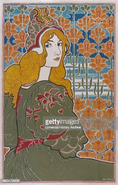 Jane 1897 colour lithograph by Art Nouveau American artist Louis John Rhead