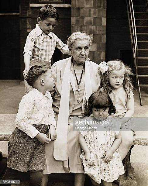 Jane Addams American pacifist social worker sociologist and suffragette Founder of Hull House and winner of the 1931 Nobel Peace Prize Photo shows...