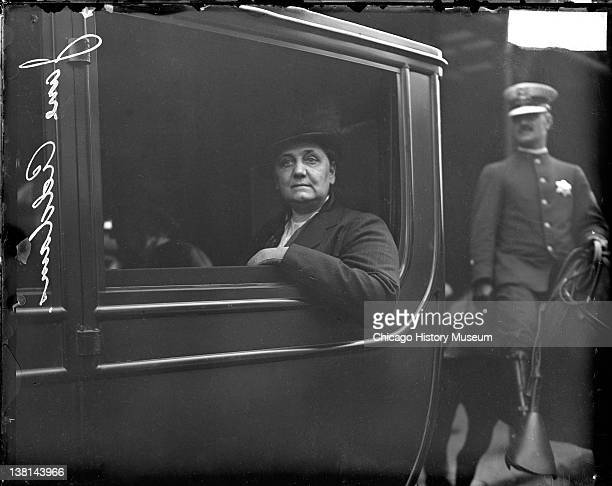Jane Addams sitting in an automobile in Chicago Illinois Chicago Illinois July 22 1915