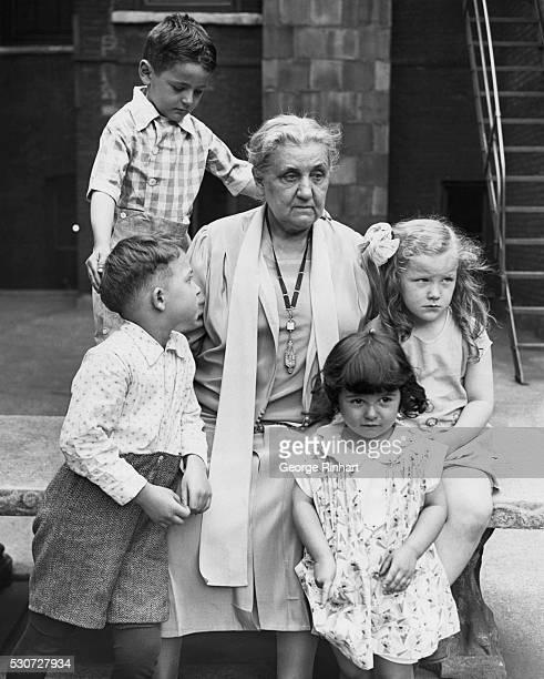 Jane Addams with children Undated photo