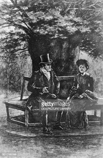 Jane and Mr Rochester under the chestnut Chapter XXIII illustration by H S Greig for Jane Eyre Bildungsroman by Charlotte Bronte published by J M...