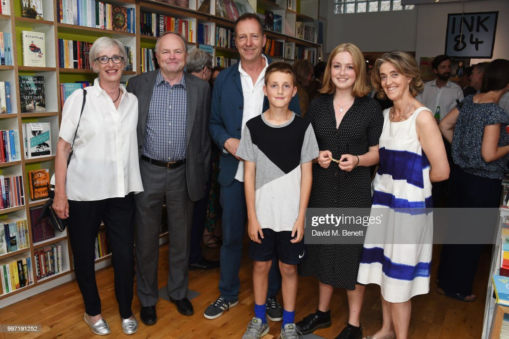 Jane Anderson, Clive Anderson, Tom Baldwin, Arthur Baldwin, Franki Baldwin and Rebecca Nicolson attend the launch of new book 'Ctrl Alt Delete' by Tom Baldwin at Ink 84 on July 12, 2018 in London, England.