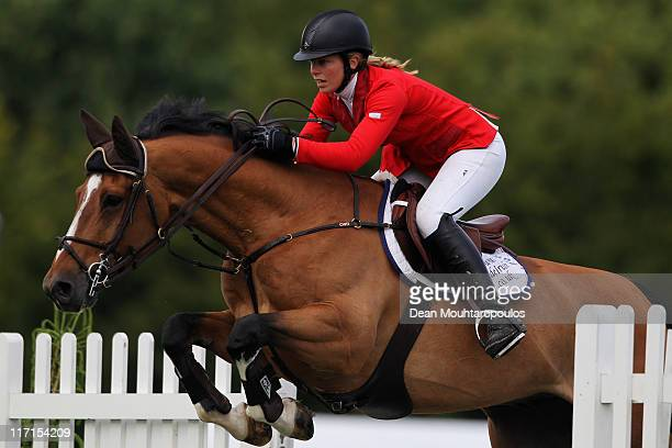 Jane Annett of Great Britain riding Zidane V competes in The Bunn Leisure Derby Tankard during the British Jumping Derby Meeting on June 23 2011 in...
