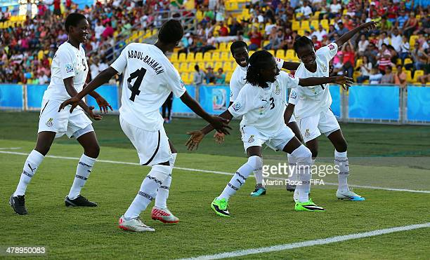 Jane Ayieyam of Ghana celebrate with her team mates after she scores her team's opening goal during the FIFA U17 Women's World Cup 2014 group B match...