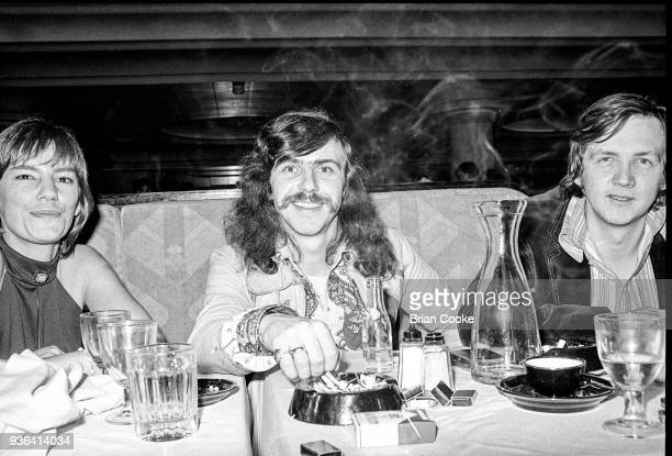 Jane Balfour Tim Hart of Steeleye Span and music writer Robin Denselow of The Guardian photographed at a reception for The Pointer Sisters at the...